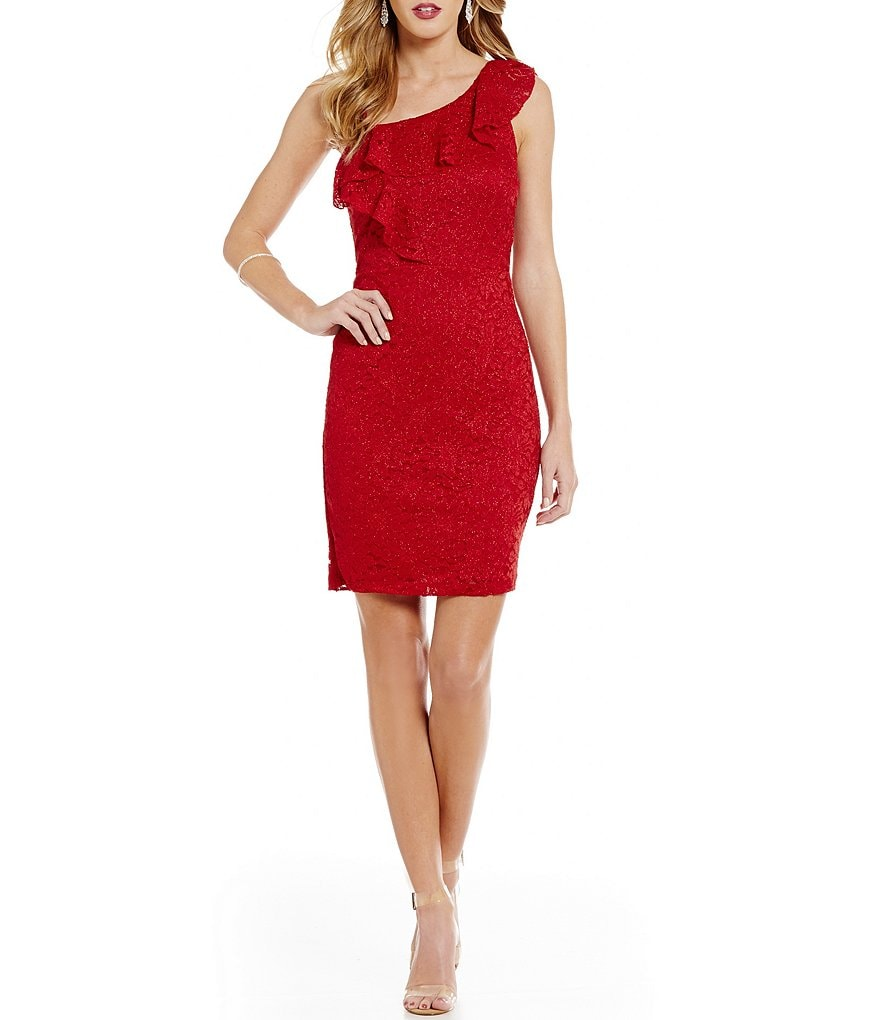 Sequin Hearts Ruffled-Shoulder Glitter Lace Sheath Dress