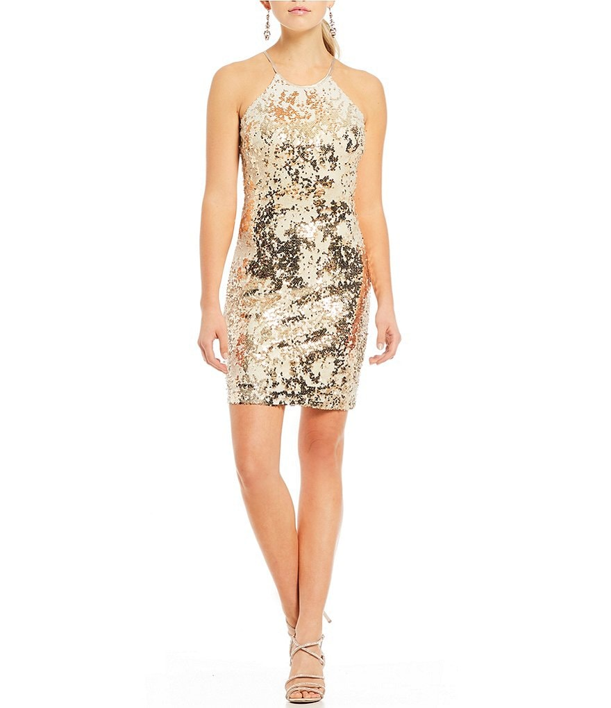 Sequin Hearts Sequin-Embellished Sheath Dress