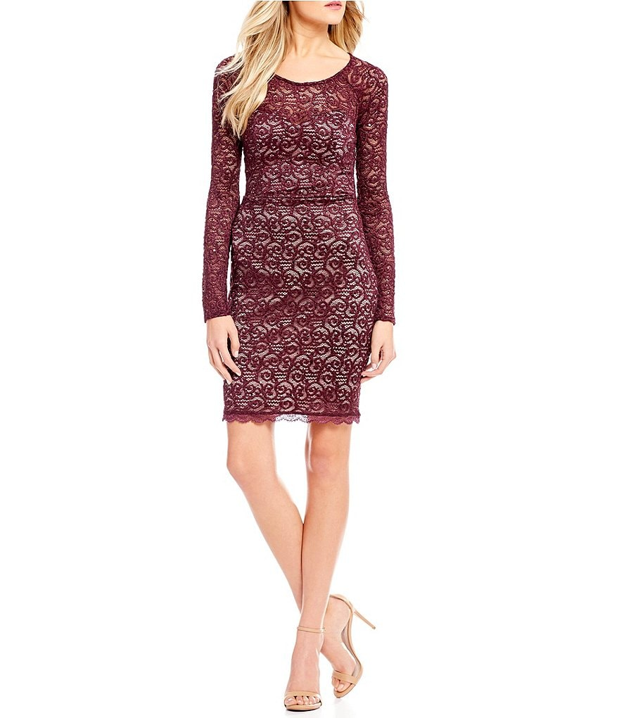 Sequin Hearts Sequin-Lace Criss-Cross Back Sheath Dress