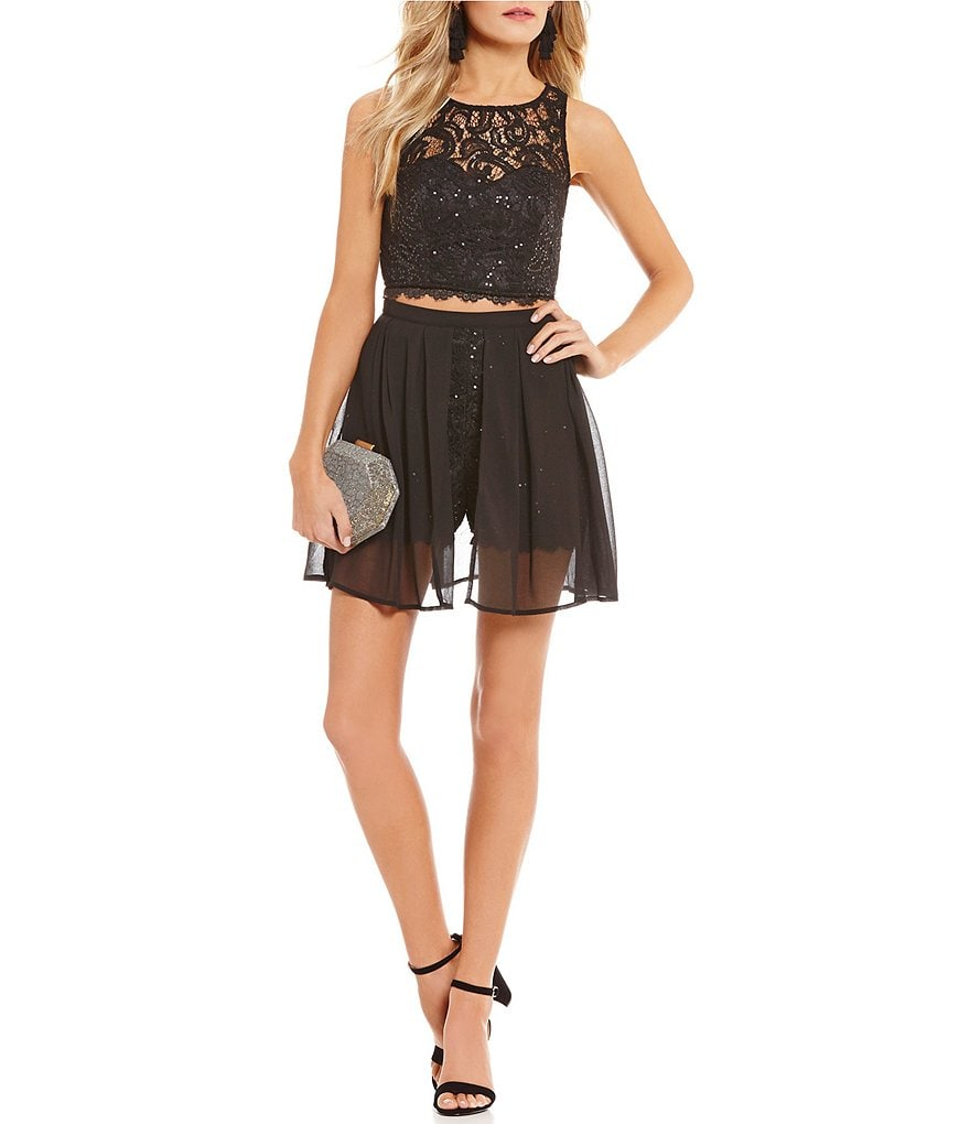 Sequin Hearts Sequin Lace Two-Piece Romper