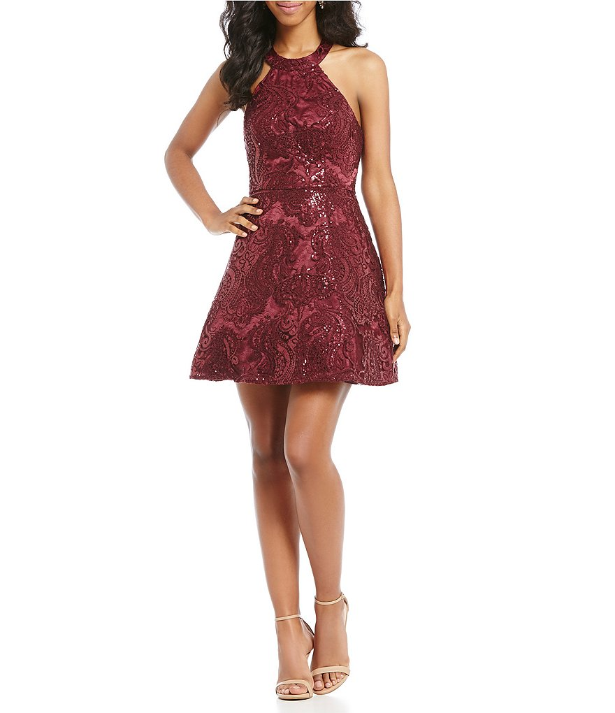 Sequin Hearts Sequin Pattern Fit and Flare Dress
