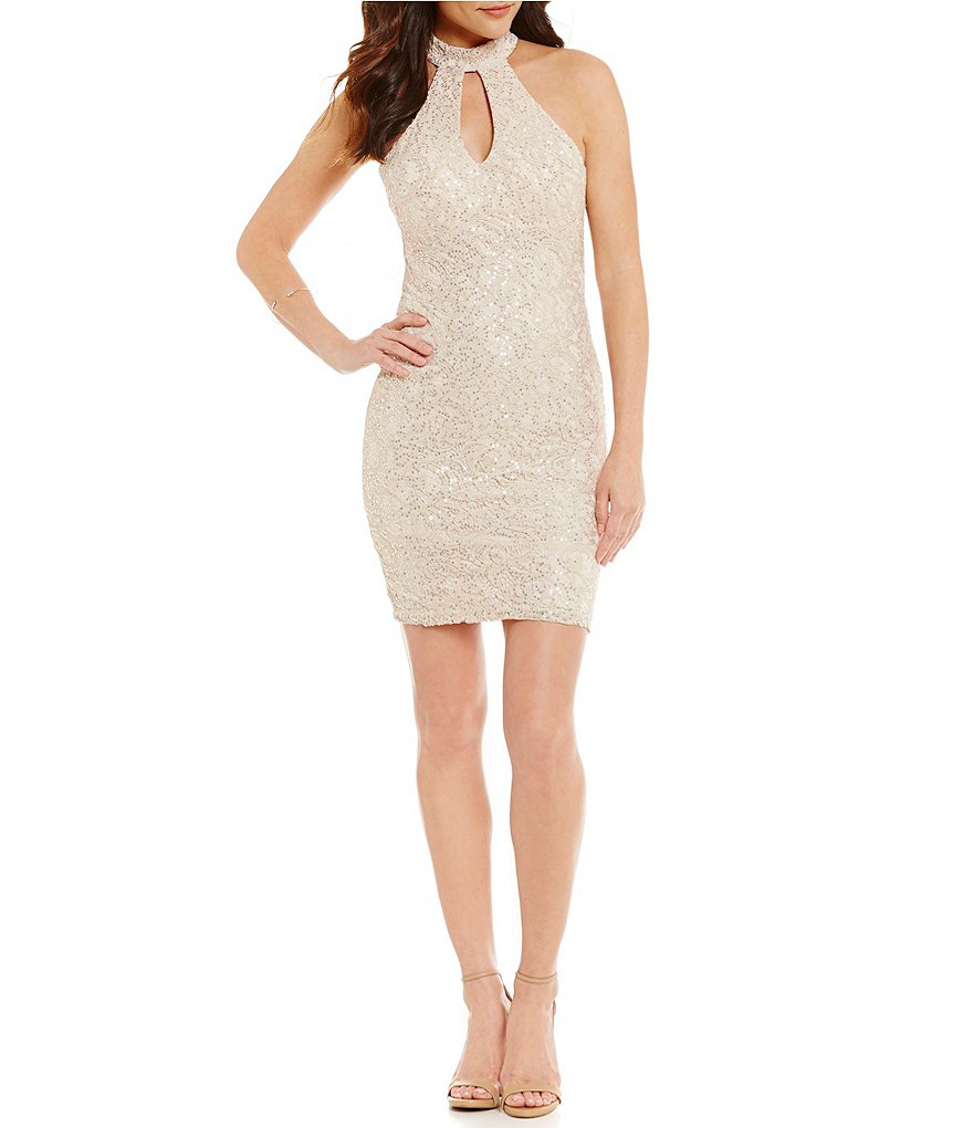 Sequin Hearts Sequined Lace Strappy-Back Keyhole Mock Neck Sheath Dress