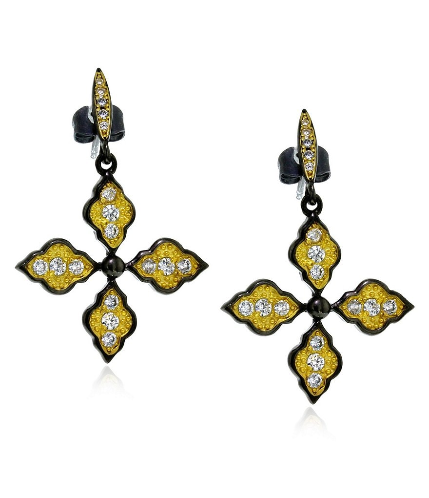 Siena B Crystal Cross Leverback Statement Earrings
