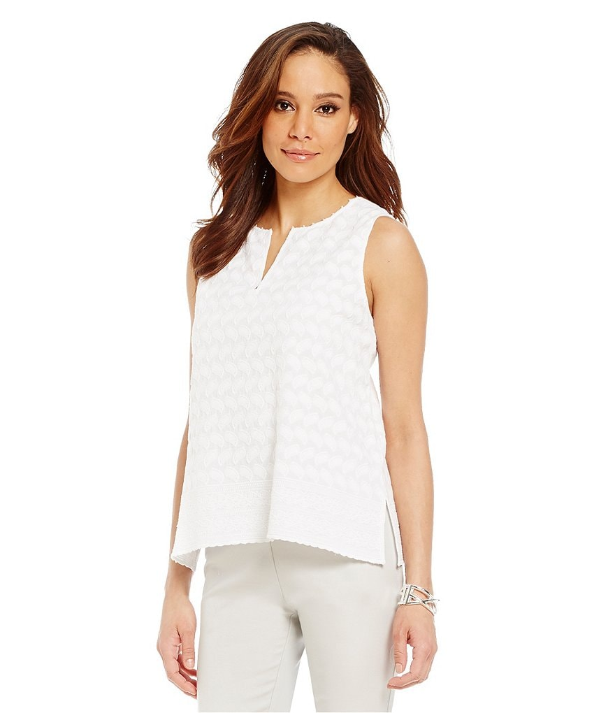 Sigrid Olsen Embroidered Split-Neck Tank