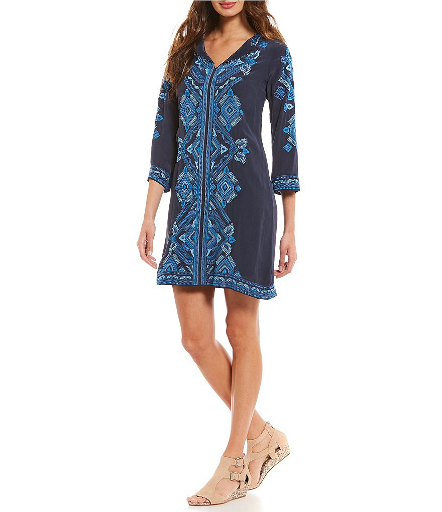 Sigrid Olsen Signature Beaded Embroidered Dress