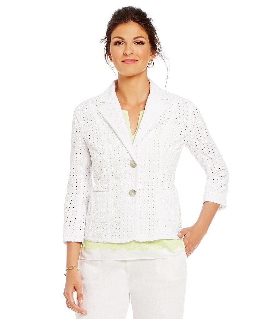 Sigrid Olsen Signature Cotton Eyelet Jacket