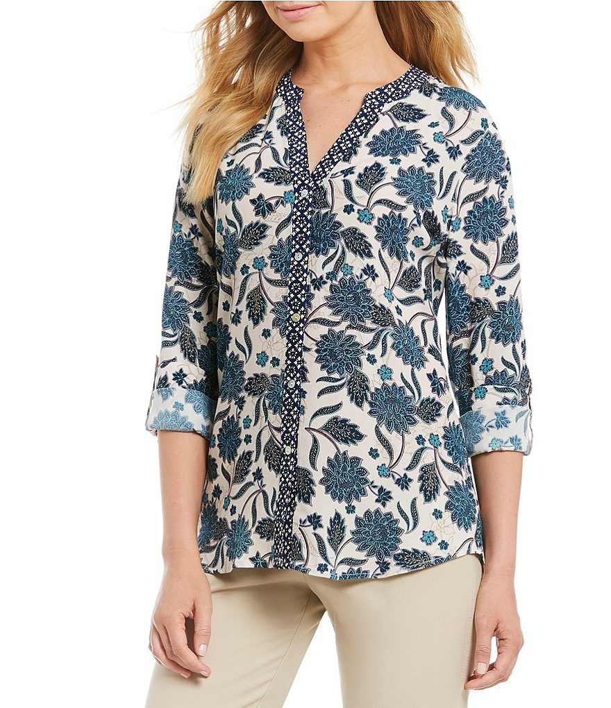 Sigrid Olsen Signature Lotus Print Button Front Shirt