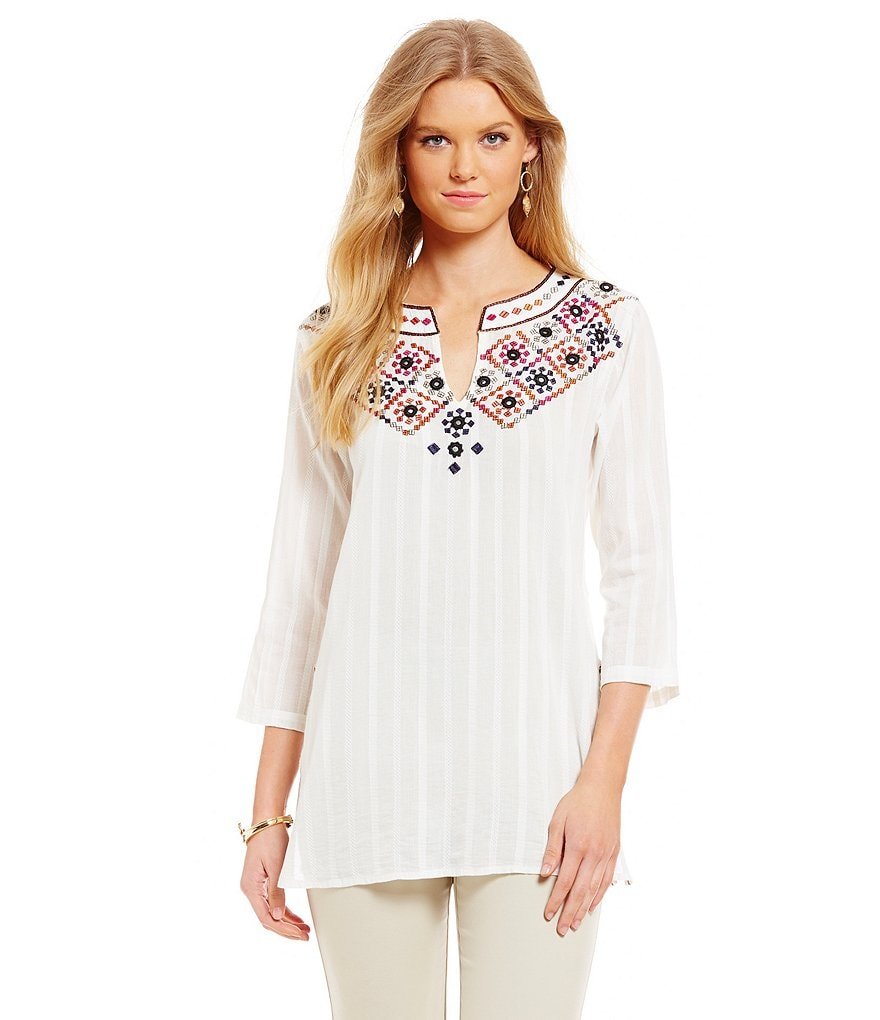 Sigrid Olsen Signature Multi Embroidered Cotton Tunic