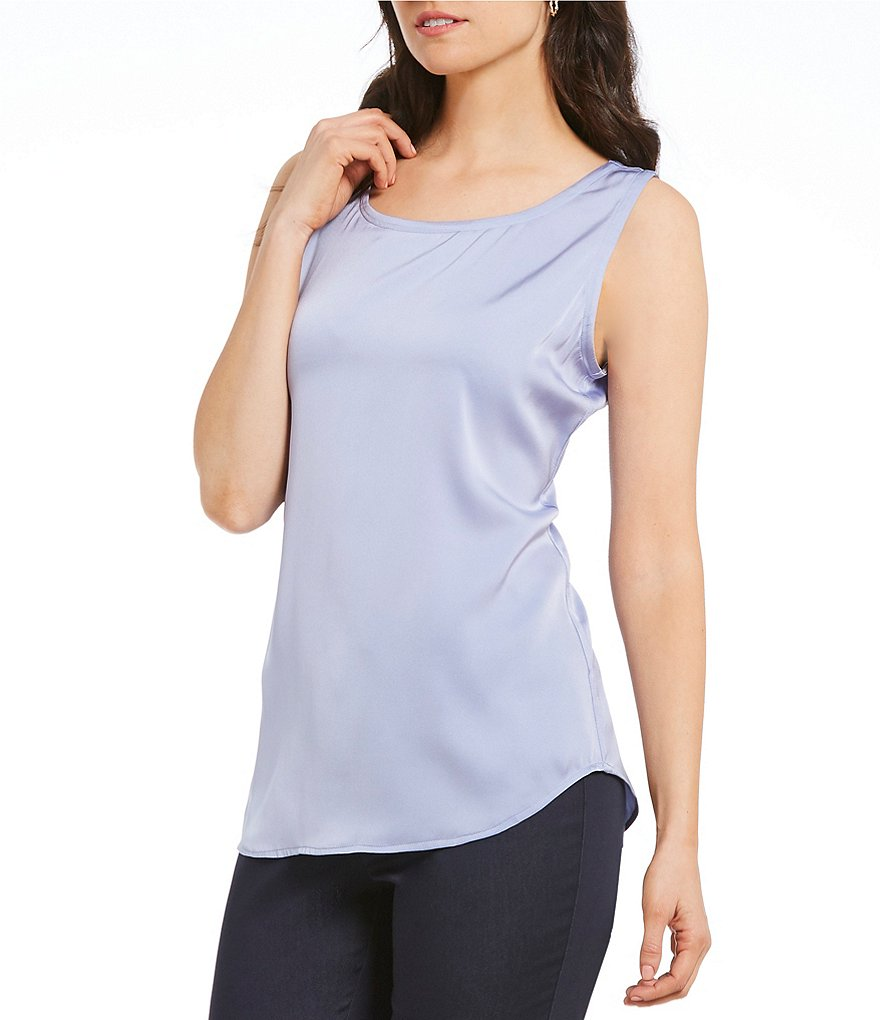 Sigrid Olsen Signature Scoop Neck Silk Shell Tank
