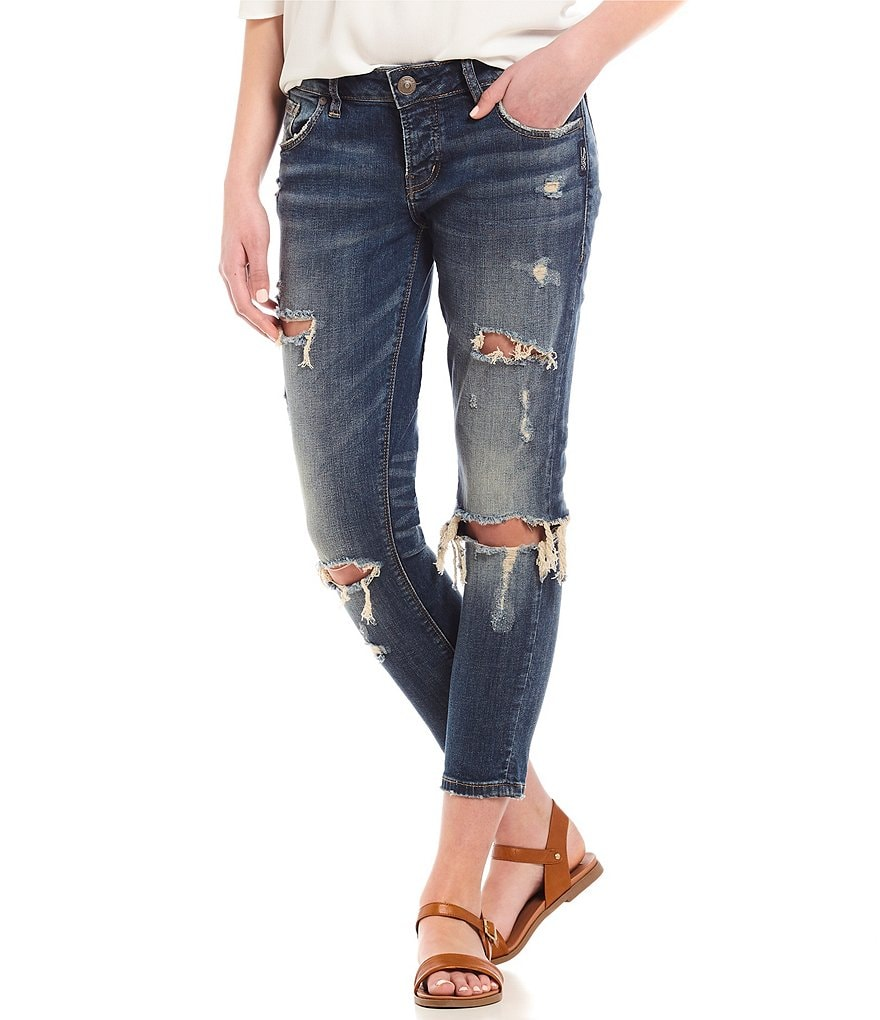 Silver Jeans Co. Kenni Girlfriend Destructed Ankle Skinny Jeans