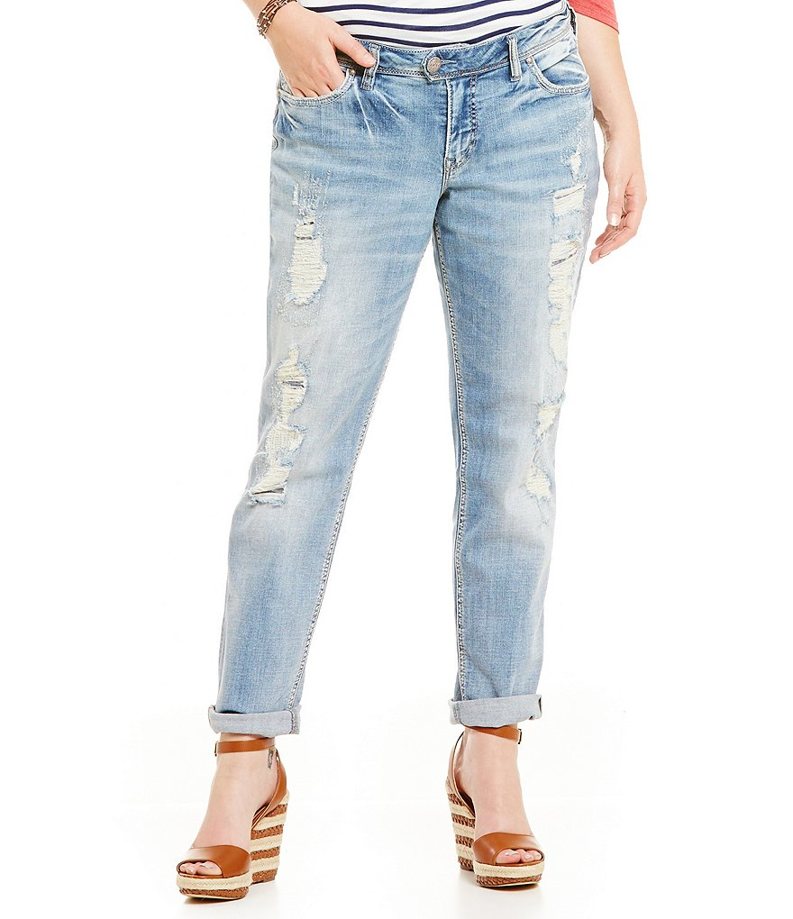 Silver Jeans Co. Plus Destructed Boyfriend Jeans