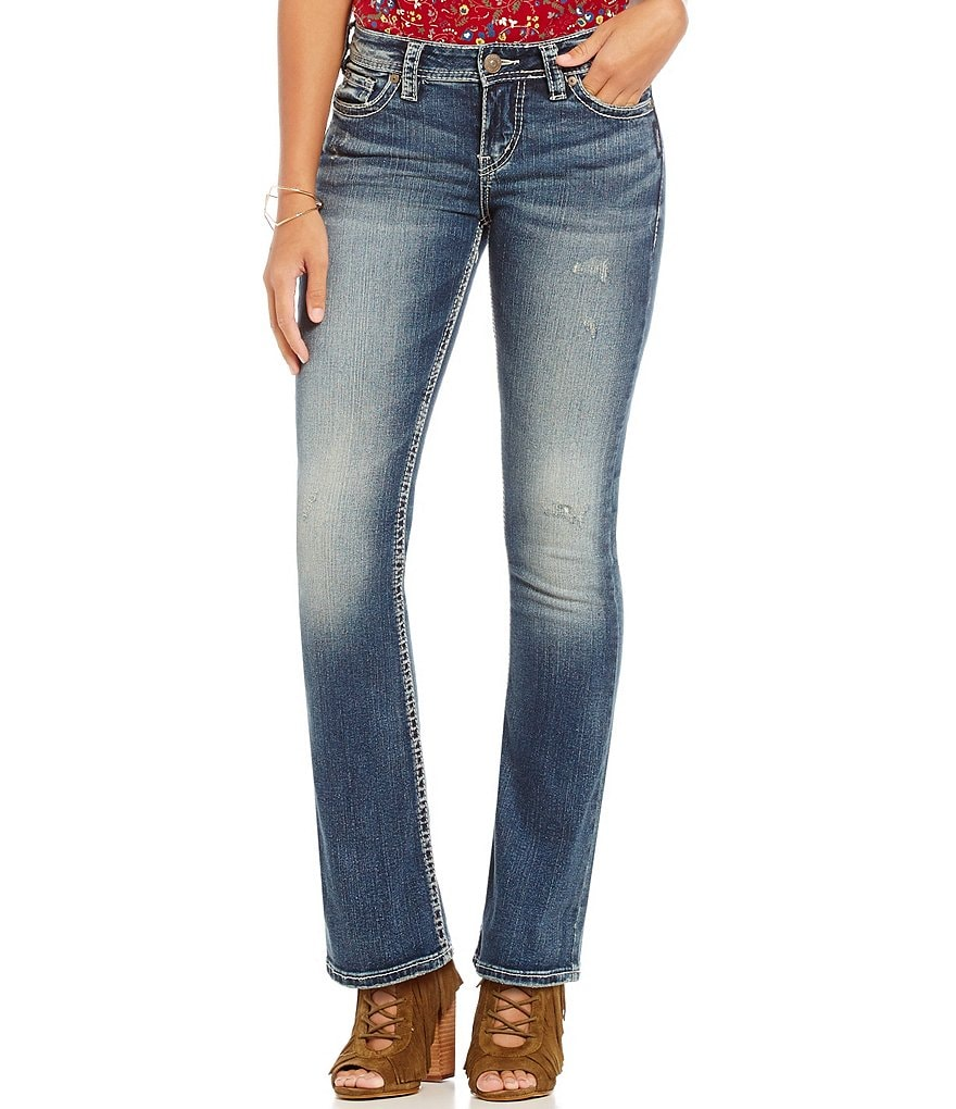 Silver Jeans Co. Tuesday Whiskered Sanded Distressed Mid Bootcut Jeans