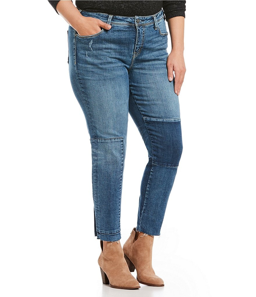Silver Jeans Co. Plus Izzy Frayed Hem Ankle Slim Jeans