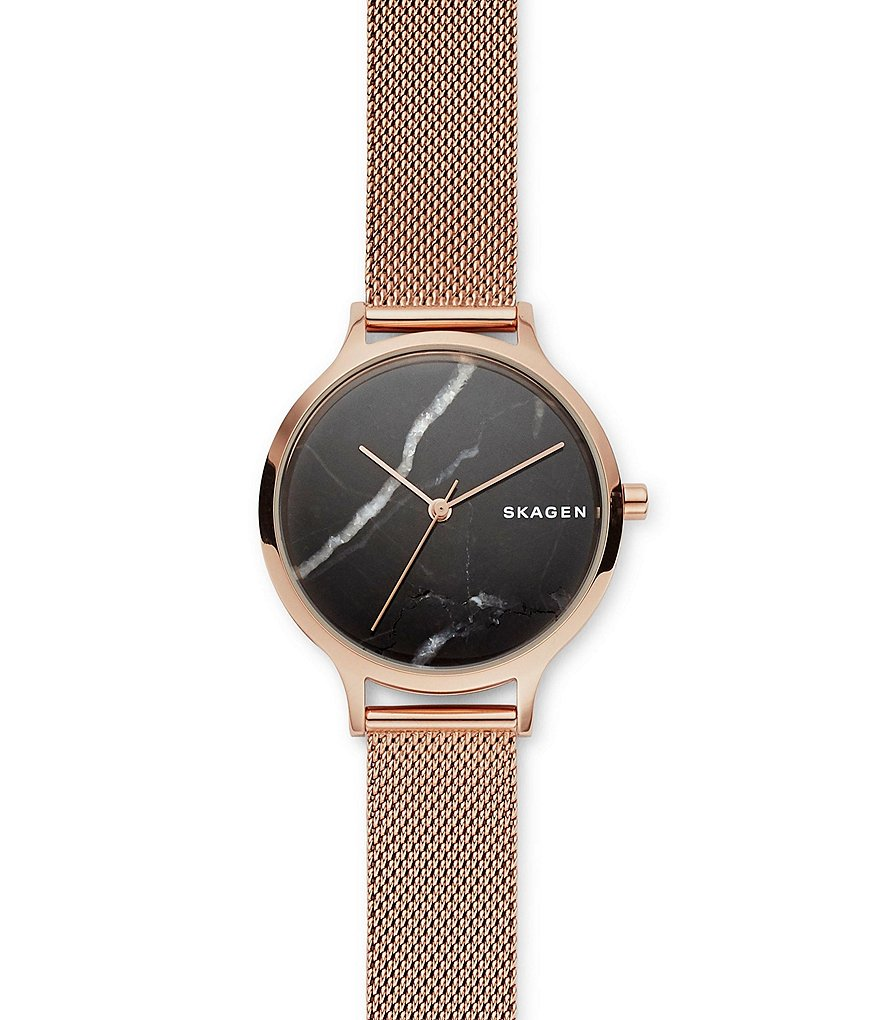 Skagen Anita Rose-Tone Steel-Mesh Stone Watch