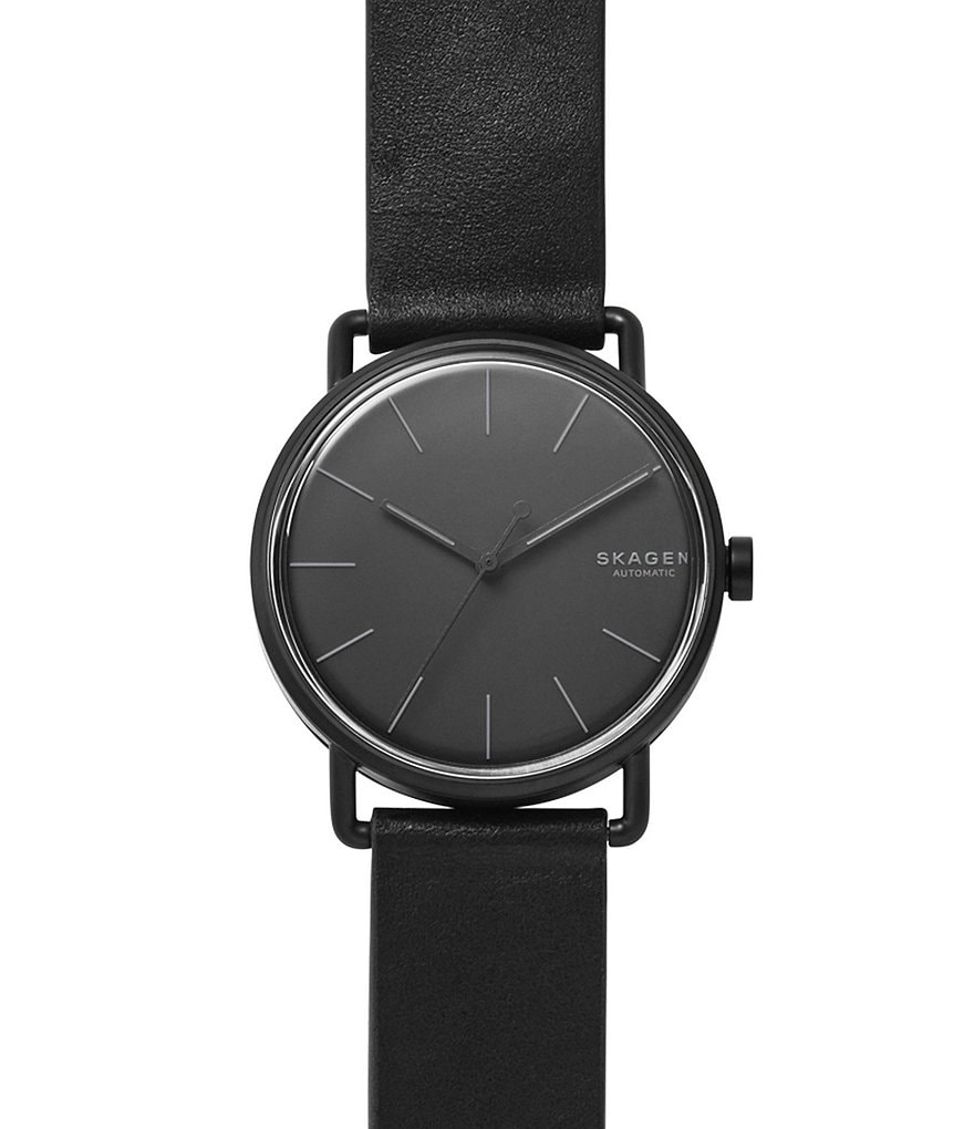 Skagen Falster Self-Winding Automatic Analog Leather-Strap Watch