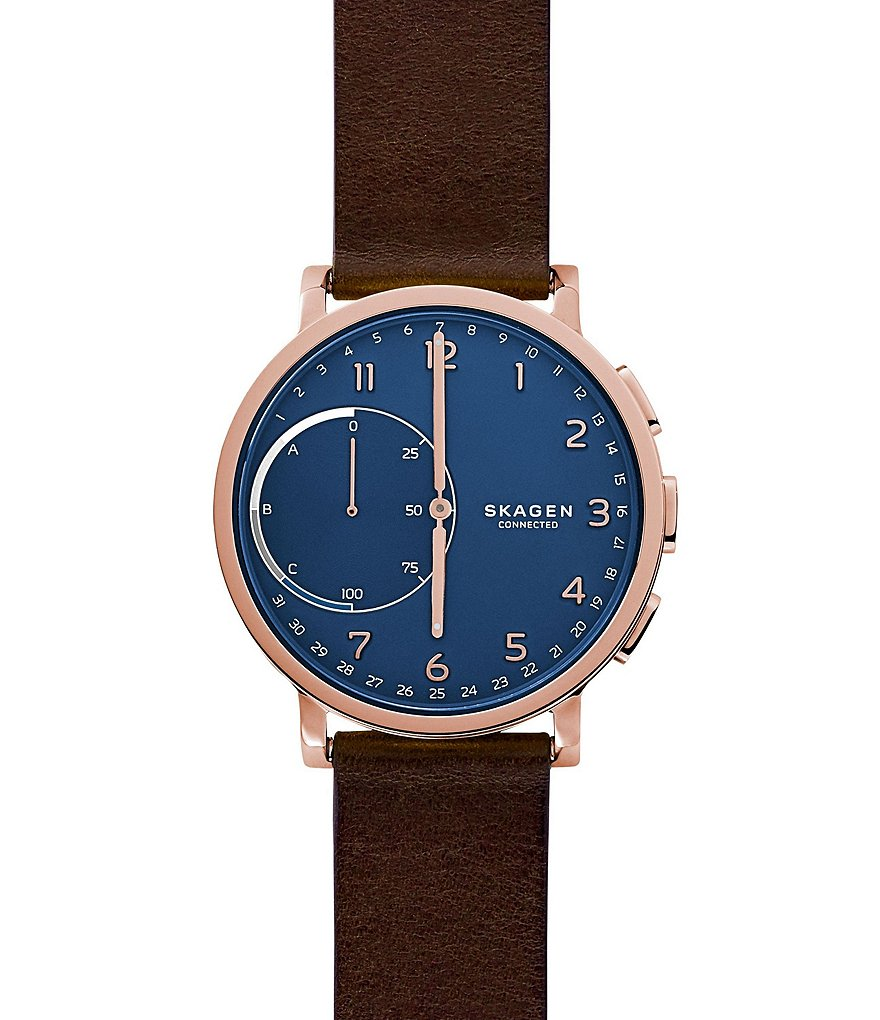 Skagen Hagen Connected Leather-Strap Hybrid Smart Watch