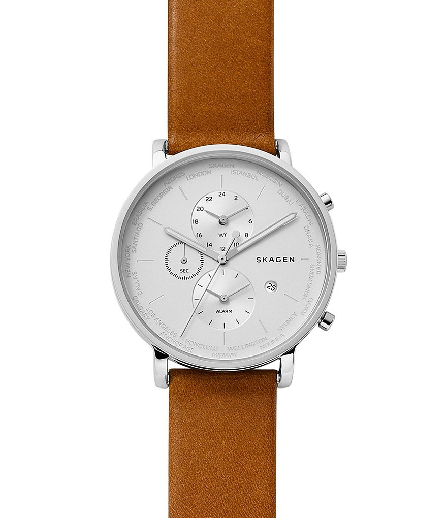 Skagen Hagen Multifunction Chronograph Leather-Strap Watch