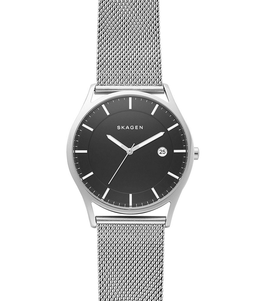 Skagen Holst Analog & Date Mesh Bracelet Watch