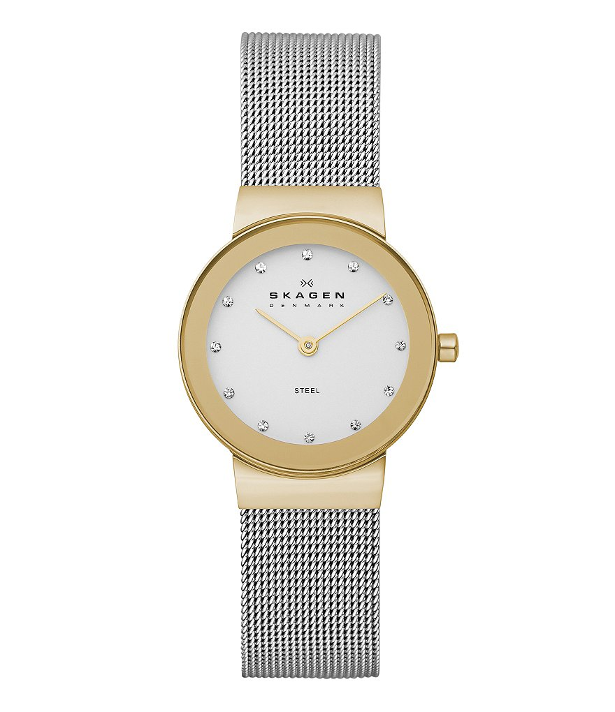 Skagen Ladies' Classic Two-Tone Stainless Steel Mesh Band Analog Watch