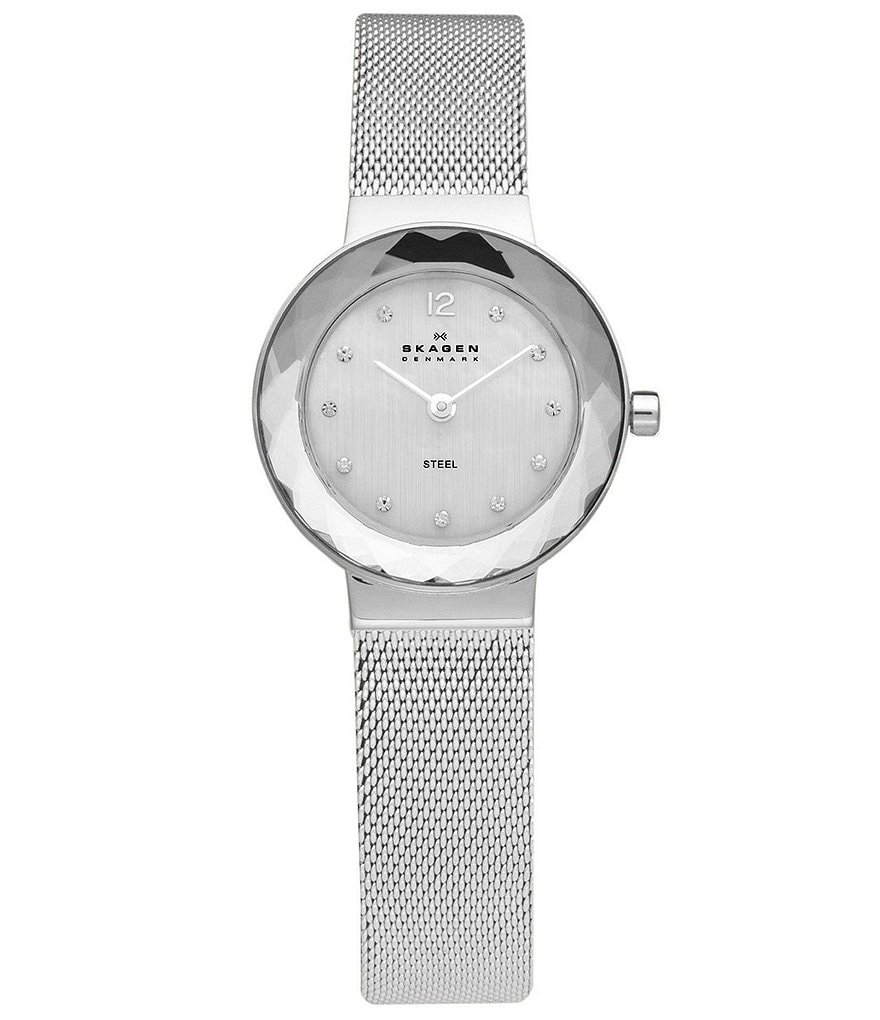 Skagen Ladies Crystal Bezel Silvertone Stainless Steel Dress Watch