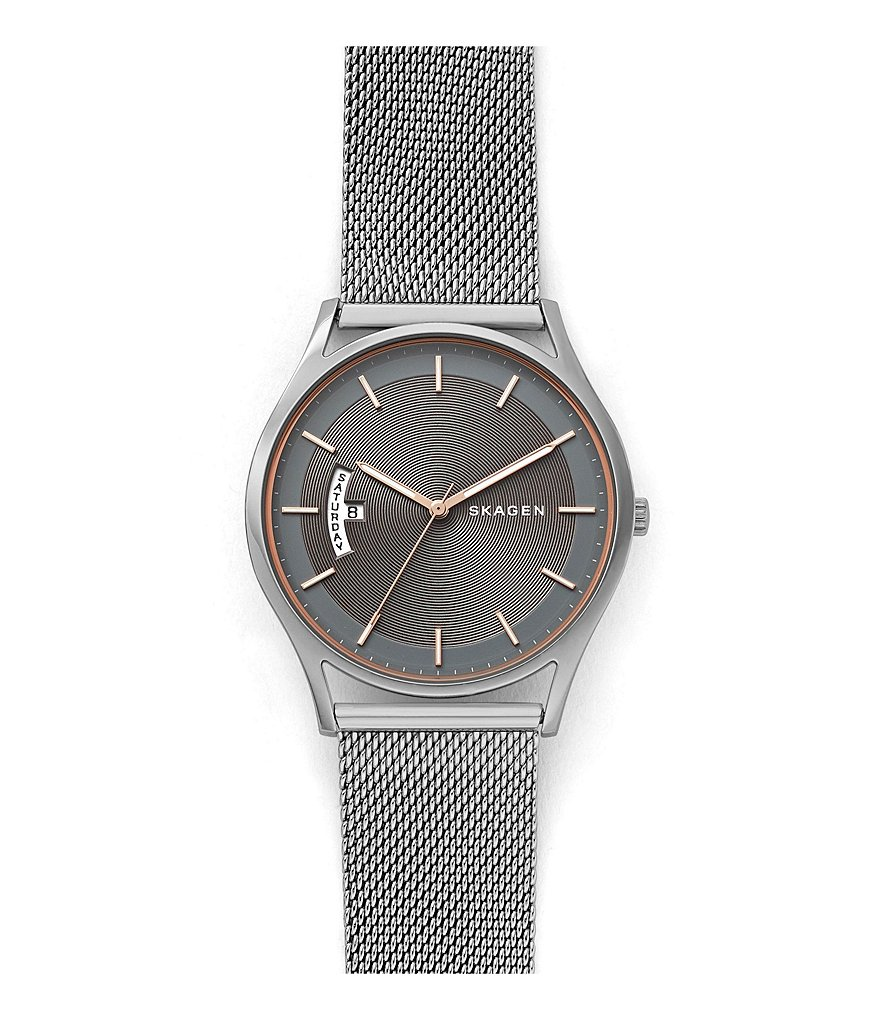 Skagen Men's Holst Steel-Mesh Day Date Watch