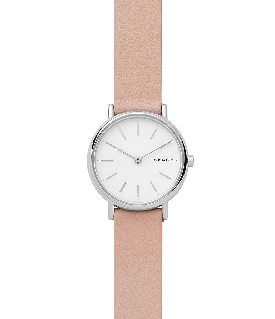 Skagen Signature Pink Slim Strap Leather Watch