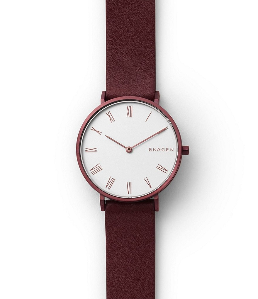Skagen Slim Hald Analog Leather-Strap Watch