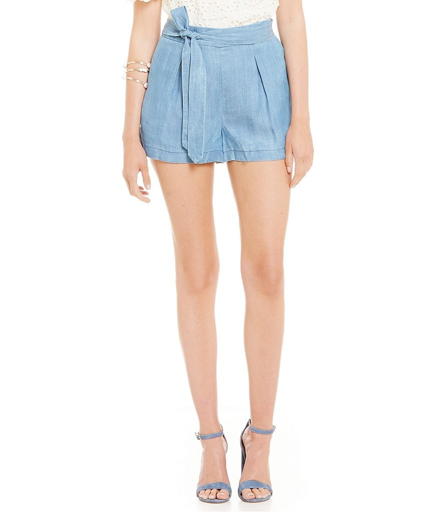 Skies Are Blue Chambray Tie Waist Shorts