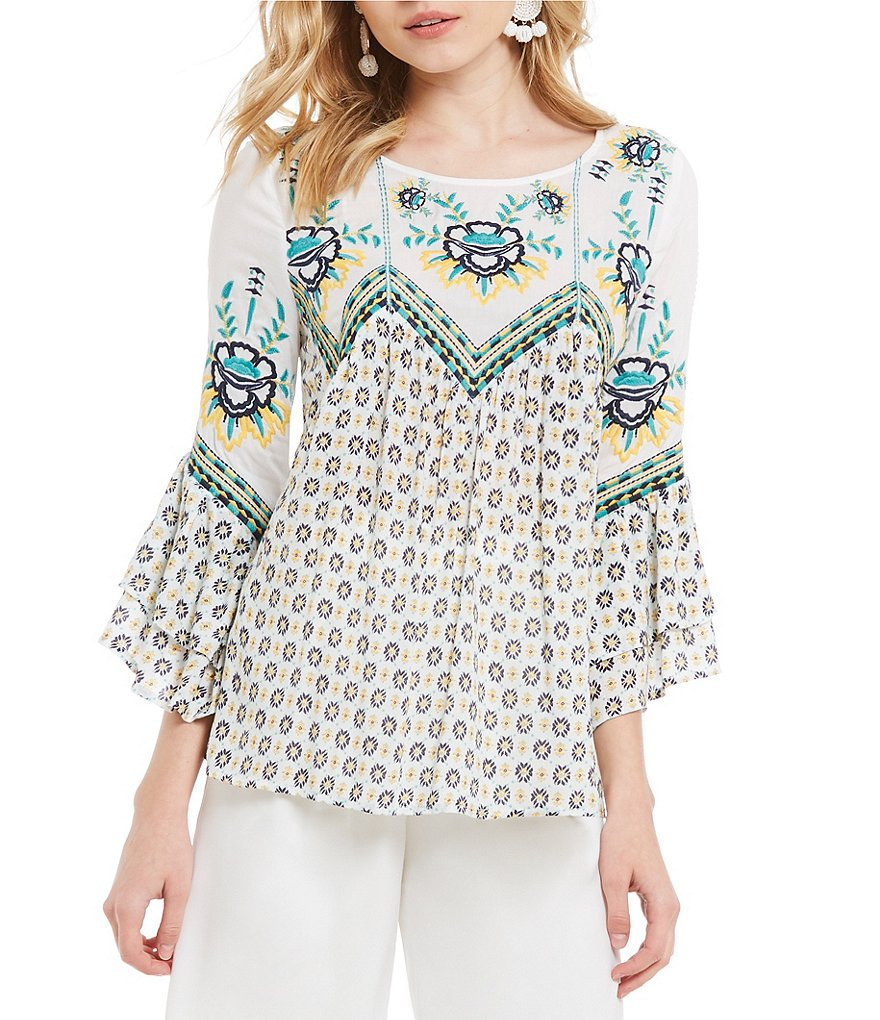 Skies Are Blue Embroidered Detail Bell Sleeve Blouse