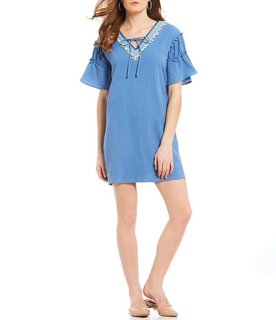 Skies Are Blue Embroidered V-Neck Shift Dress