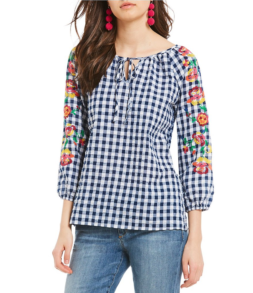Skies Are Blue Floral Embroidered Gingham Top