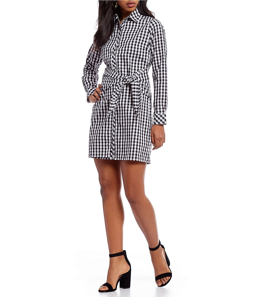 Skies Are Blue Gingham Faux Wrap Front Novelty Shirting Dress