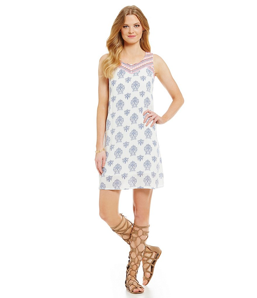 Skies Are Blue Printed Embroidered Neck Sleeveless Dress
