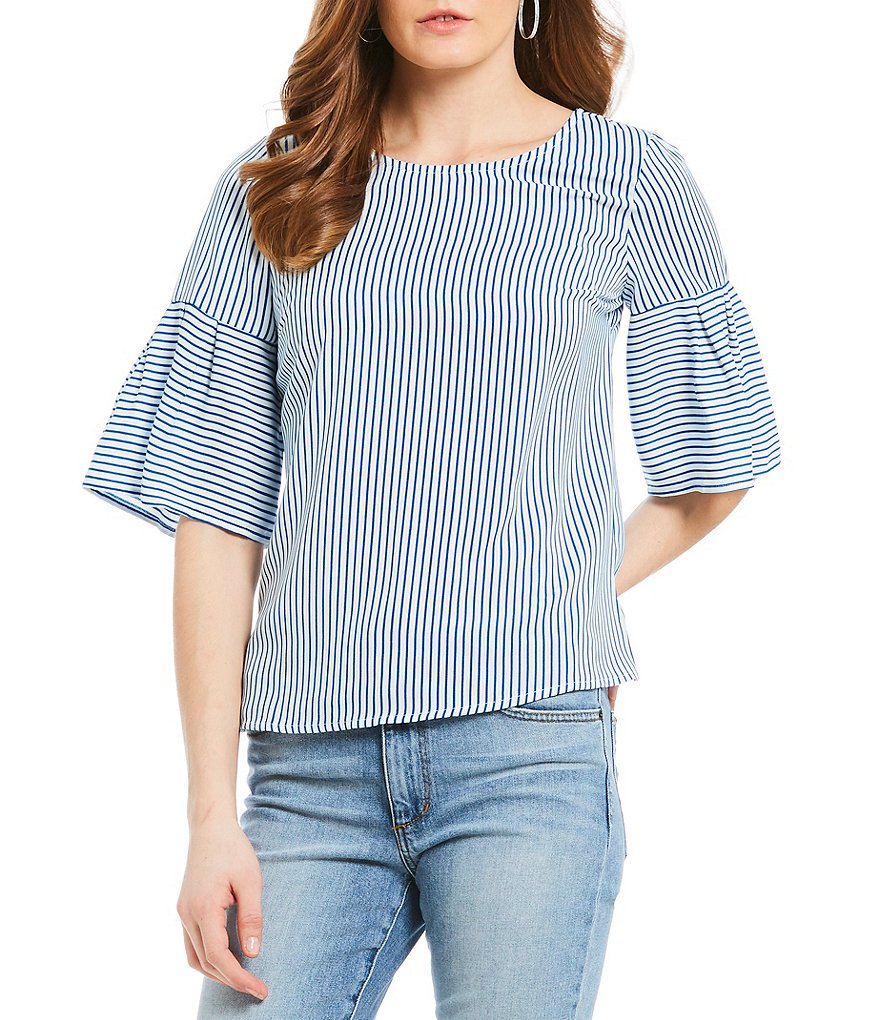 Skies Are Blue Stripe Bell Sleeve Top