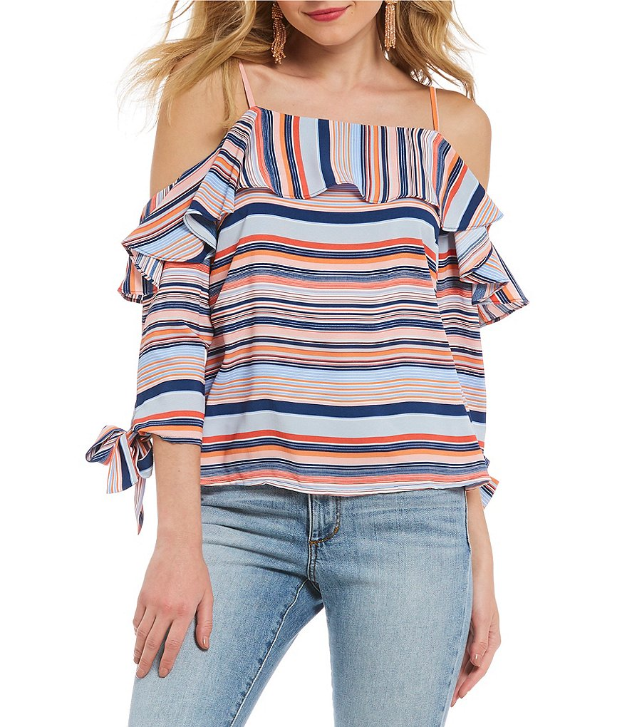 Skies Are Blue Stripe Cold Shoulder Tie Sleeve Top