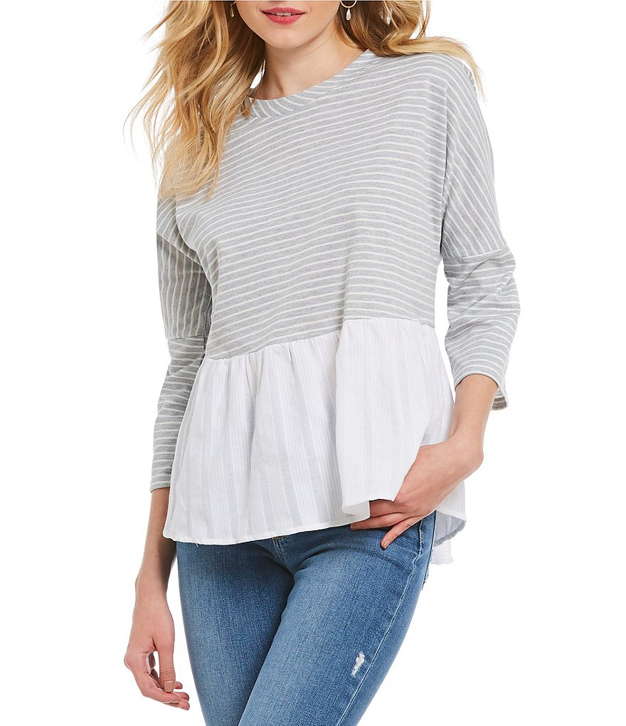 Skies Are Blue Stripe Contrast Hem Top