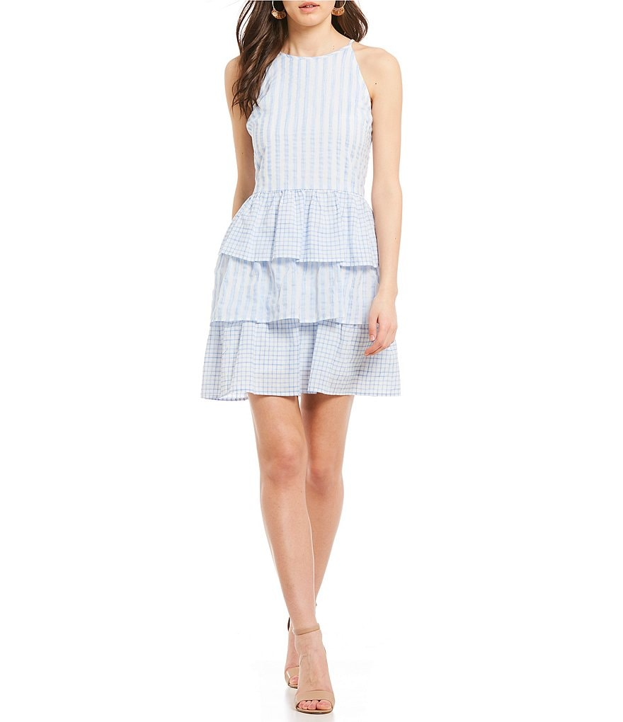Skies Are Blue Stripe Ruffle Tiered Dress