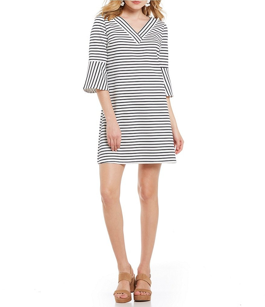 Skies Are Blue Striped V-Neck Bell Sleeve Shift Dress