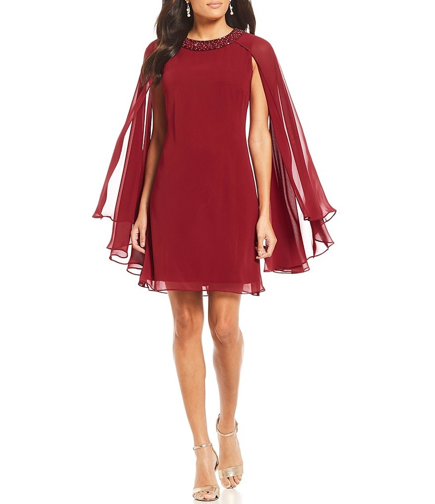 S.L. Fashions Bead Neck Cape Dress