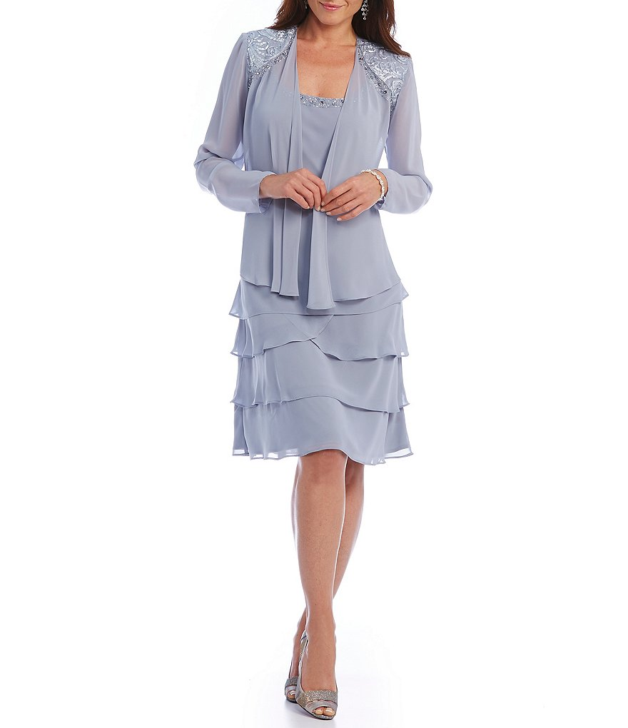Sl sl fashion dresses - S L Fashions Lace Shoulder Chiffon Jacket Dress