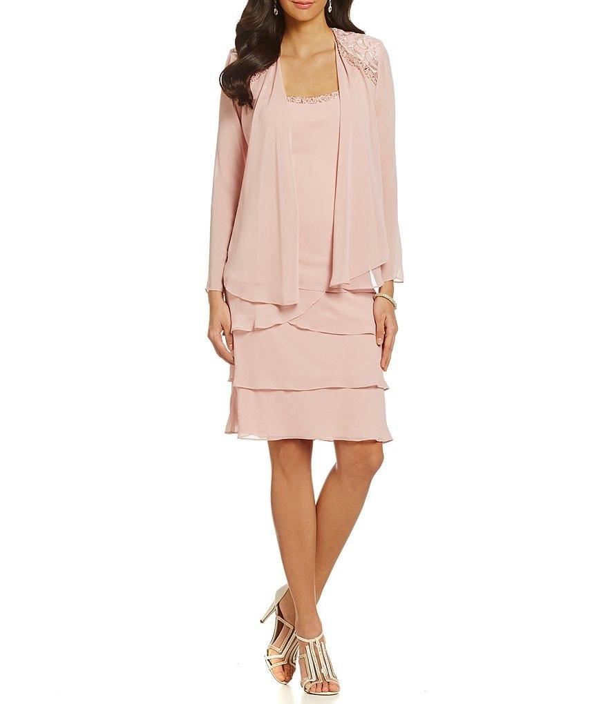Ignite Evenings Lace-Shoulder Chiffon Jacket Dress