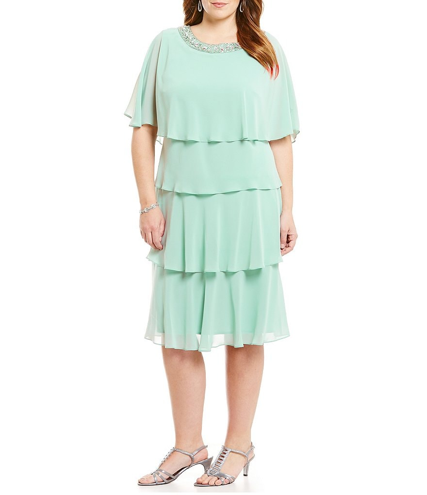 S.L. Fashions Plus Beaded-Neck Tiered Dress