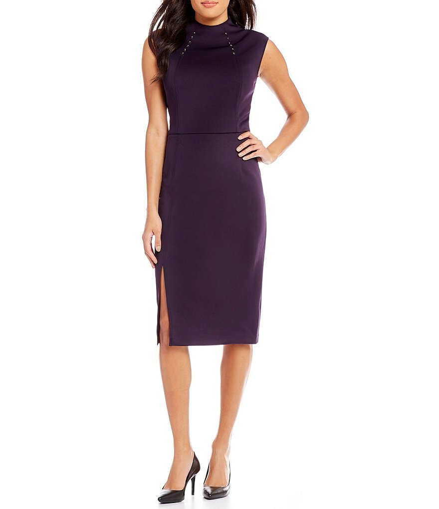 S.L. Fashions Stone-Trim Scuba Sheath Dress