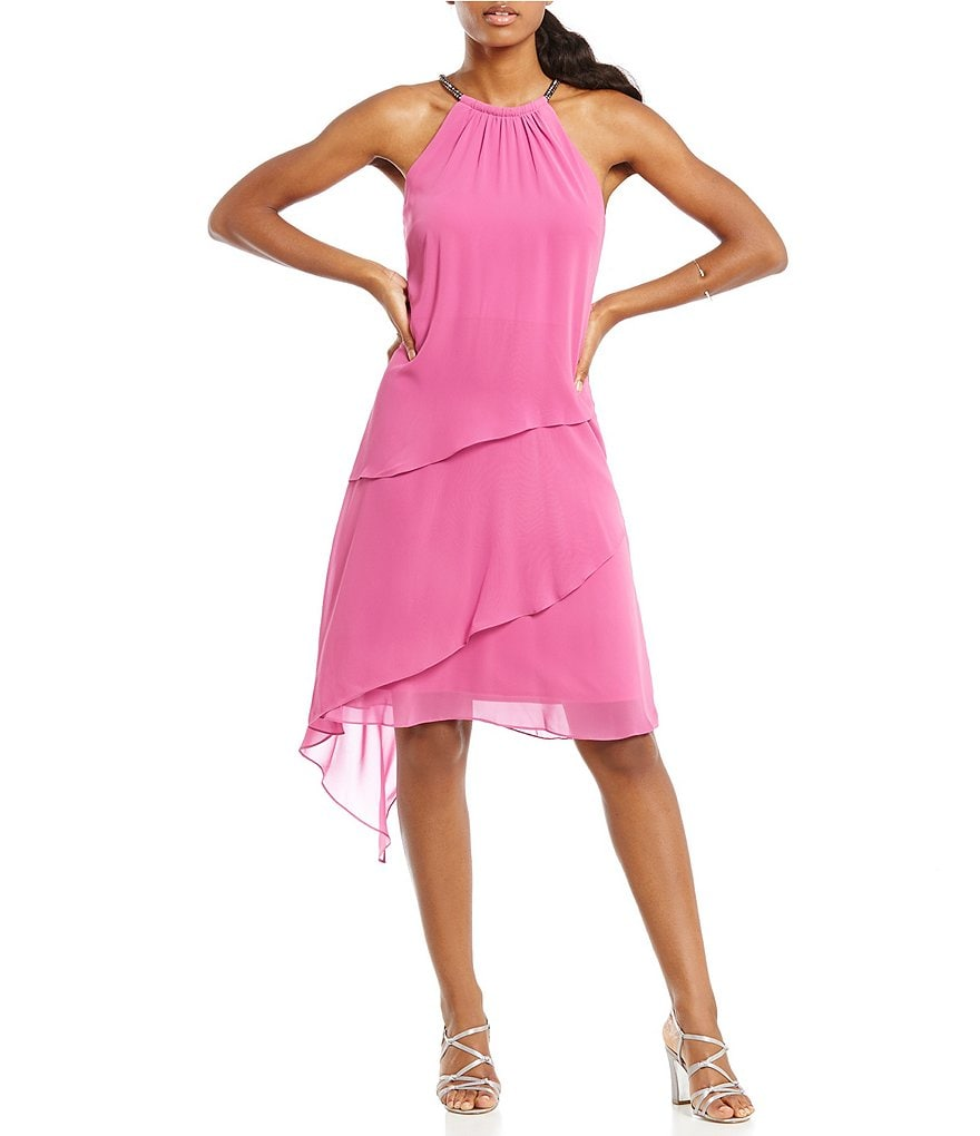 S.L. Fashions Tiered Halter Dress