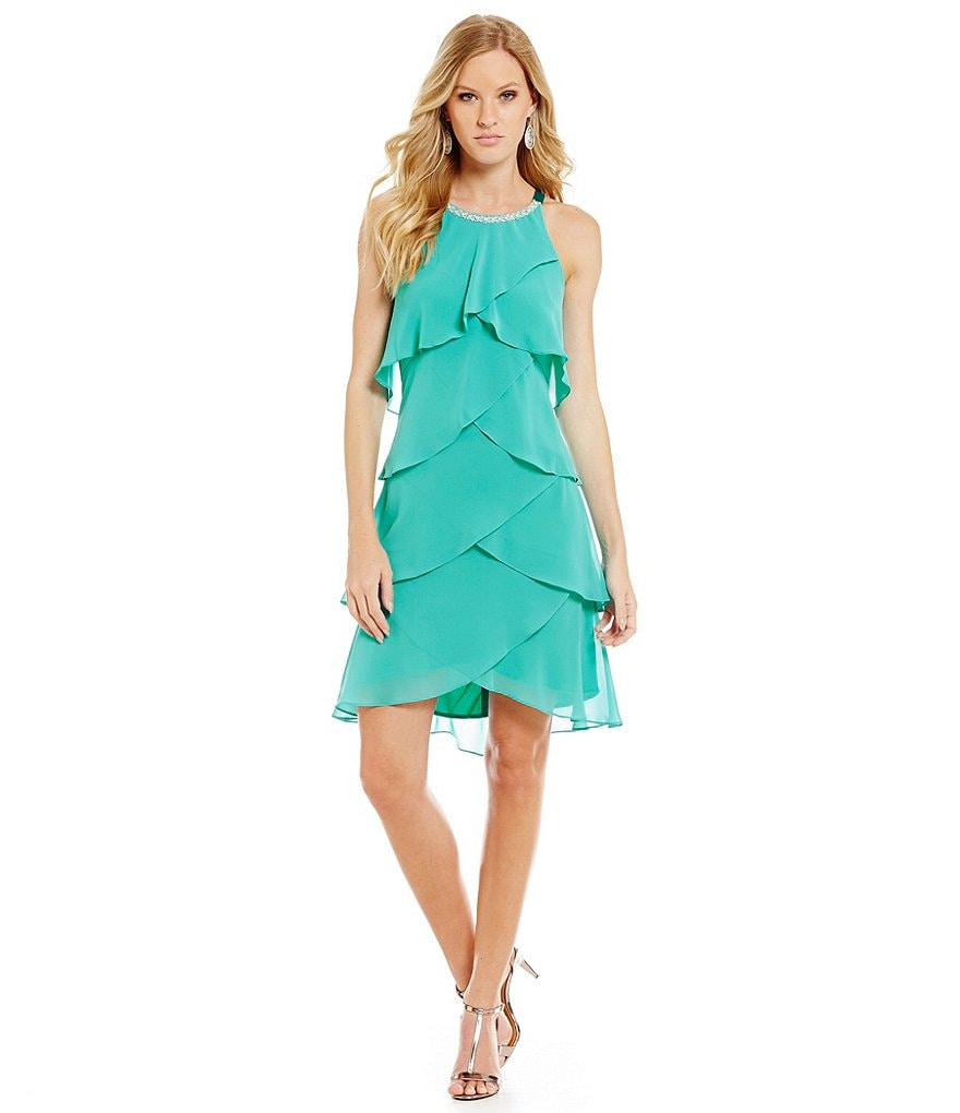 S.L. Fashions Tiered Pearl-Neck Dress