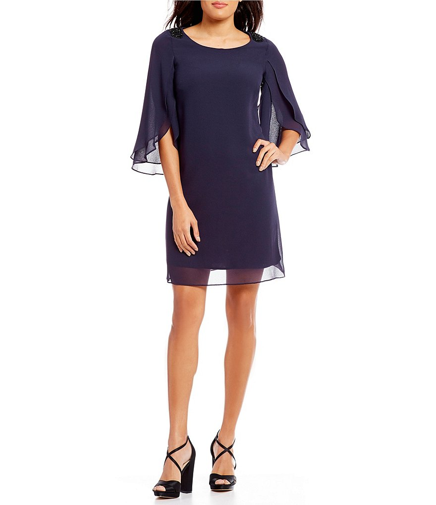S.L. Fashions Tulip-Sleeve Shift Dress