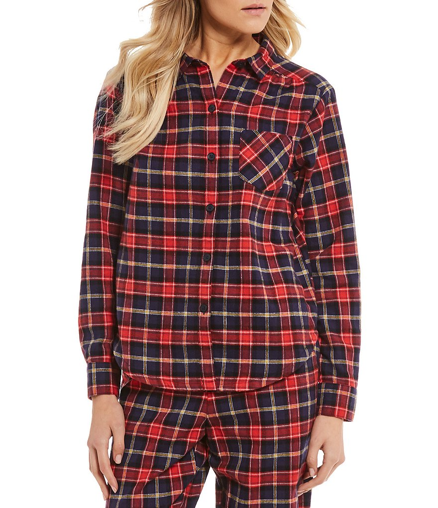 Sleep Sense Dorothy Plaid Flannel Sleep Top