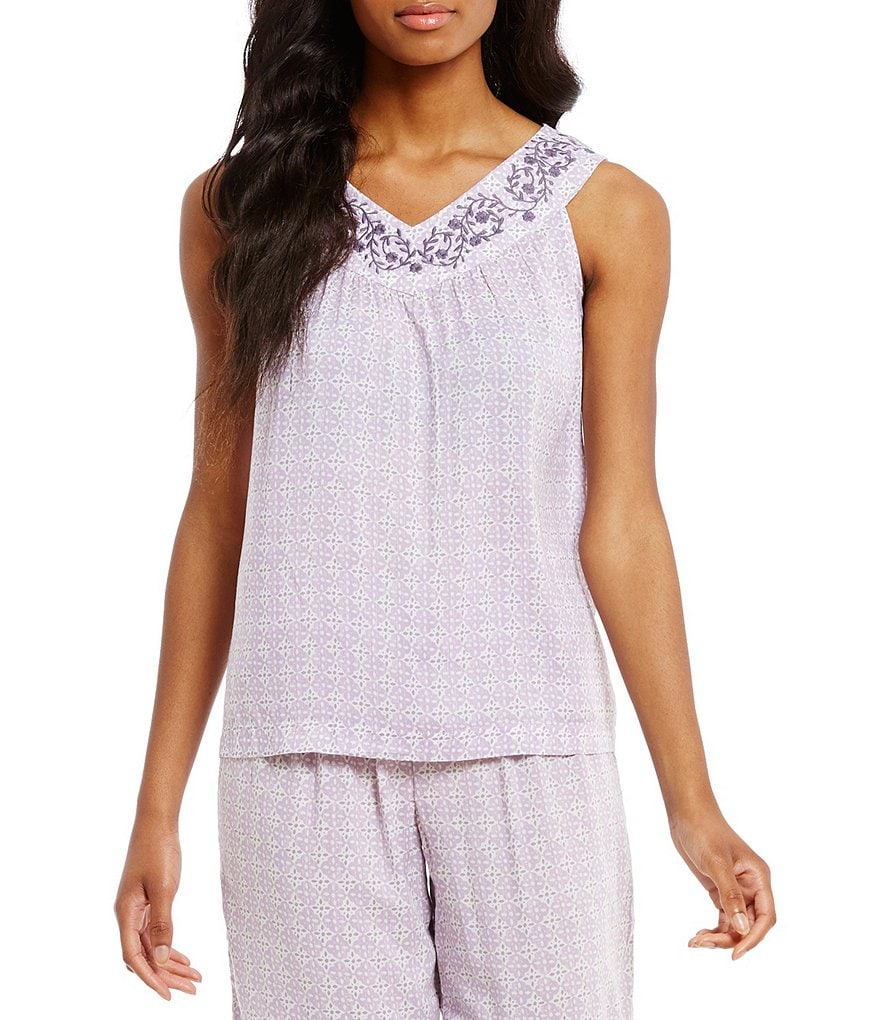 Sleep Sense Embroidered Medallion-Print Sleep Tank