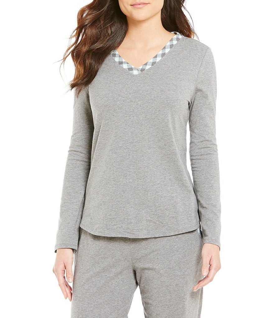 Sleep Sense Flannel-Trimmed Jersey Sleep Top