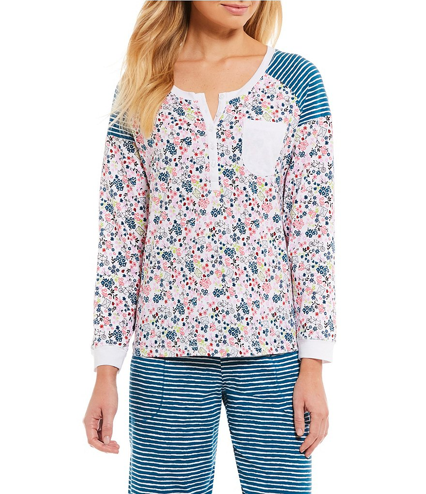 Sleep Sense Floral & Striped Henley Sleep Top